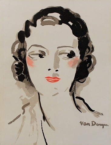 Kees van Dongen, Portrait de Femme (Pochoir for menu for diner in Miramar, Cannes),  1933, Pochoir