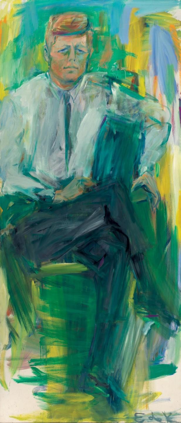 Elaine de Kooning, John F. Kennedy, 1963, oil on canvas, National Portrait Gallery, Smithsonian Institution © Elaine de Kooning Trust