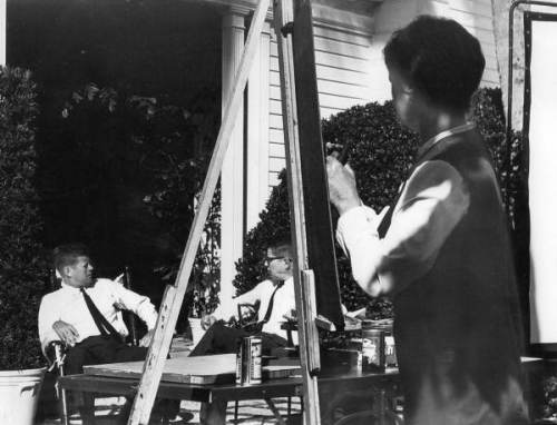 Elaine de Kooning and John F. Kennedy