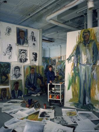 Elaine de Kooning, John F. Kennedy sketches