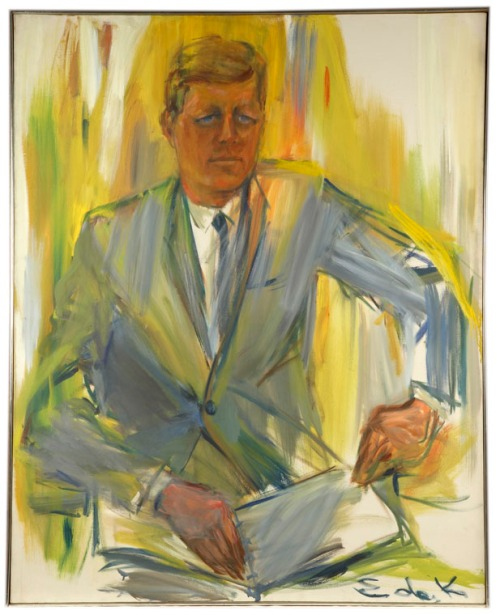 Elaine de Kooning, Portrait of President John F. Kennedy, 1962, oil on canvas, © Estaet of Elaine de Kooning