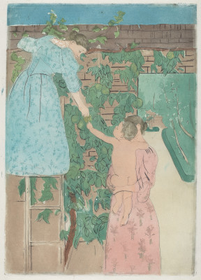 Mary Cassatt, Gathering Fruit, c. 1893, Drypoint and aquatint in color