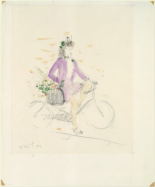 Fullscreen Images (2)  Marcel Vertès  (Ujpest, Hungary 1895–Paris 1961), Girl on a Bicycle, Watercolor and graphite, with graphite border